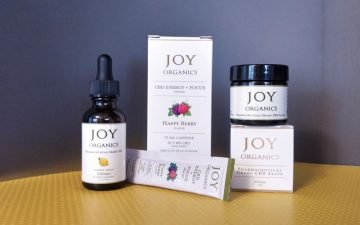 Photo of a variety of Joy Organics CBD products
